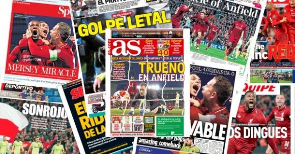 """Медиите описаха знаменития успех на Ливърпул като """"Чудото на Анфийлд"""""""