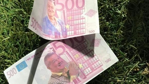 Феновете на Стяуа протестират срещу Бекали с фалшиви банкноти