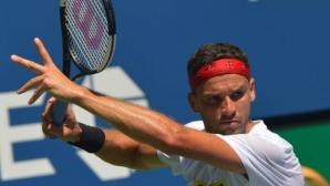Григор Димитров тренира по време на жребия на US Open