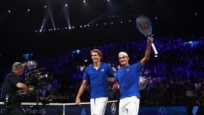 """Федерер и Зверев осигуриха преднина на Европа след първия ден на """"Лейвър Къп"""""""
