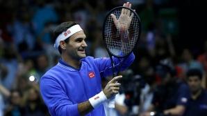 """Федерер спечели първия от серията """"латино"""" мачове със Зверев"""