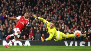 Обамеянг поведе Арсенал към успех срещу Евертън (видео)