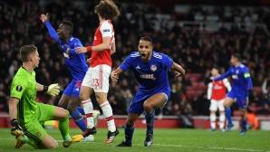 Олимпиакос изхвърли объркан Арсенал след успех в Лондон (видео)