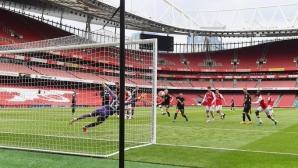 Хеттрик на младок и 6:0 за Арсенал в първата контрола след паузата (видео)