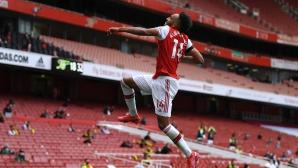 Обамеянг изведе Арсенал до успех срещу Норич (видео)