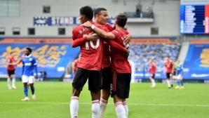 След като на 5 пъти получи помощ от гредите, Ман Юнайтед победи с дузпа в 100-тната минута (видео)