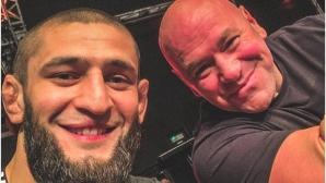 Чимаев изгледа UFC Fight Night 180 в компанията на Дейна Уайт