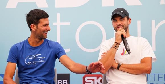 Григор и Джокович се забавляват на тренировка (видео)