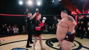 ММА състезателка нокаутира 240-килограмов блогър в клетката (видео)