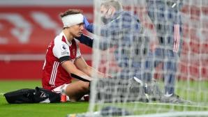 Арсенал няма да рискува с Давид Луис след ужасяващия сблъсък с Раул Хименес