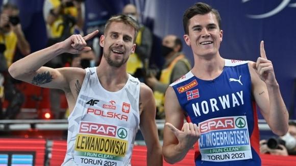 Якоб Ингебрицен спечели на 1500 м, но след дисквалификация титлата отиде у Левандовски