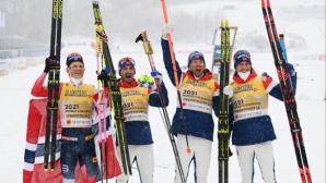 Норвегия с 11-та поредна титла в мъжката щафета на СП по ски-бягане